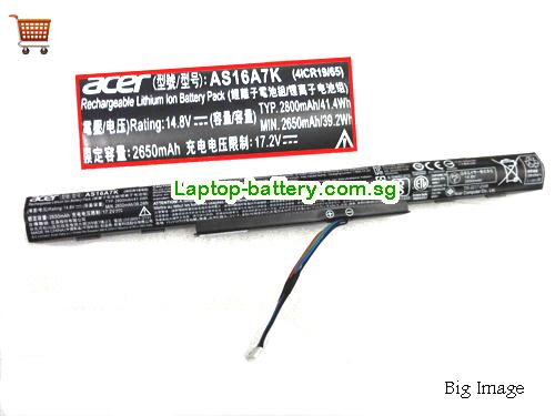 ACER AS16A8K Battery 2800mAh, 41.4Wh  14.8V Black Li-ion