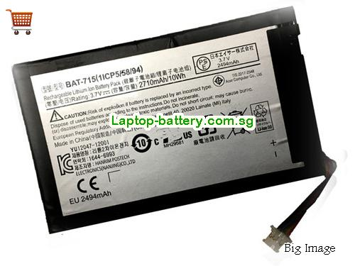 ACER 1ICP5/58/94 Battery 2710mAh, 10Wh  3.7V Black Li-ion